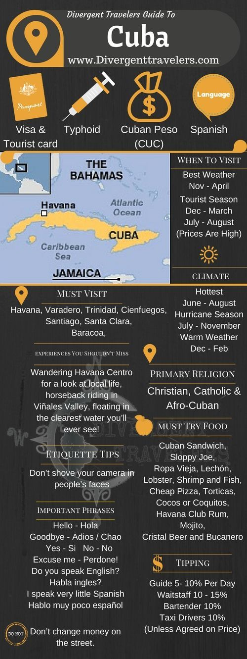 Divergent Travelers Travel Guide, With Tips And Hints To Cuba. This is your ultimate travel cheat sheet to the Cuba. Click to see our full Cuba Travel Guide from the Divergent Travelers Adventure Travel Blog and also read about all of the different adventures you can have in Cuba at www.divergenttrav...