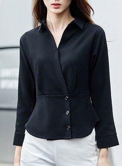 Fashion Turn Down Collar Slim Blouse