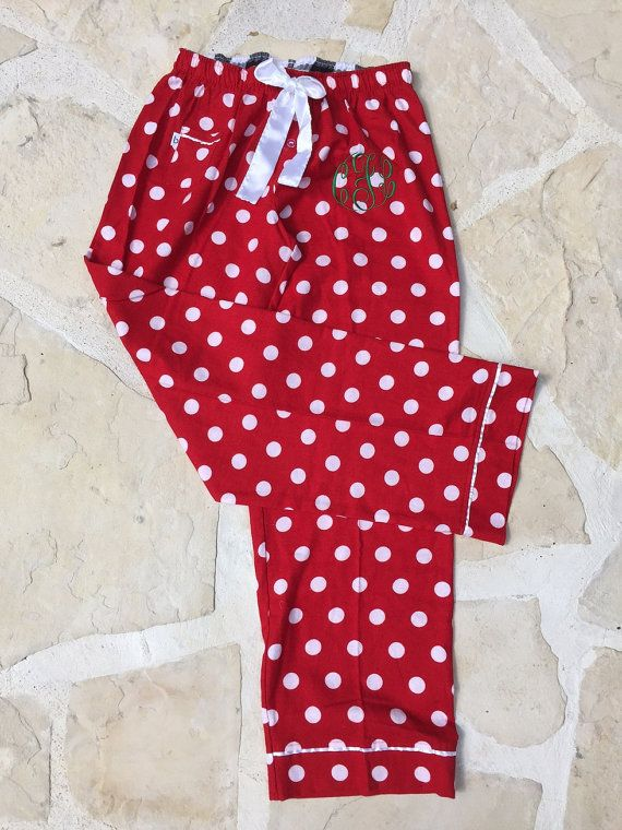 Monogrammed Red Polka Dot Flannel Christmas Pajama Pants - Youth and Women's