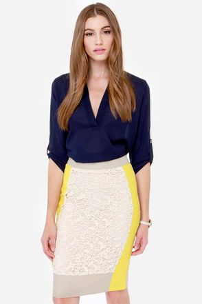 Modish Mixer Yellow and Cream Lace Skirt at Lulus.com!.... great skirt