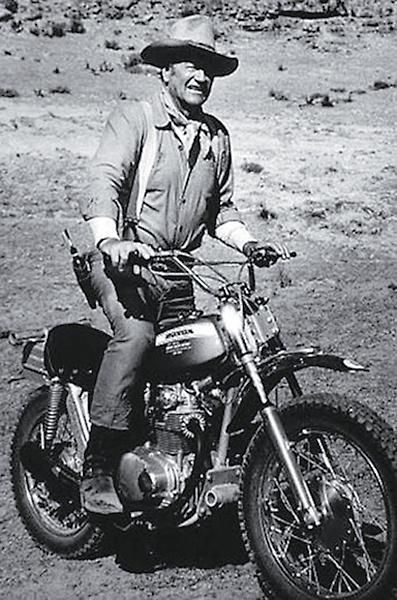 Here's the Duke, riding a steed from a very different era.
