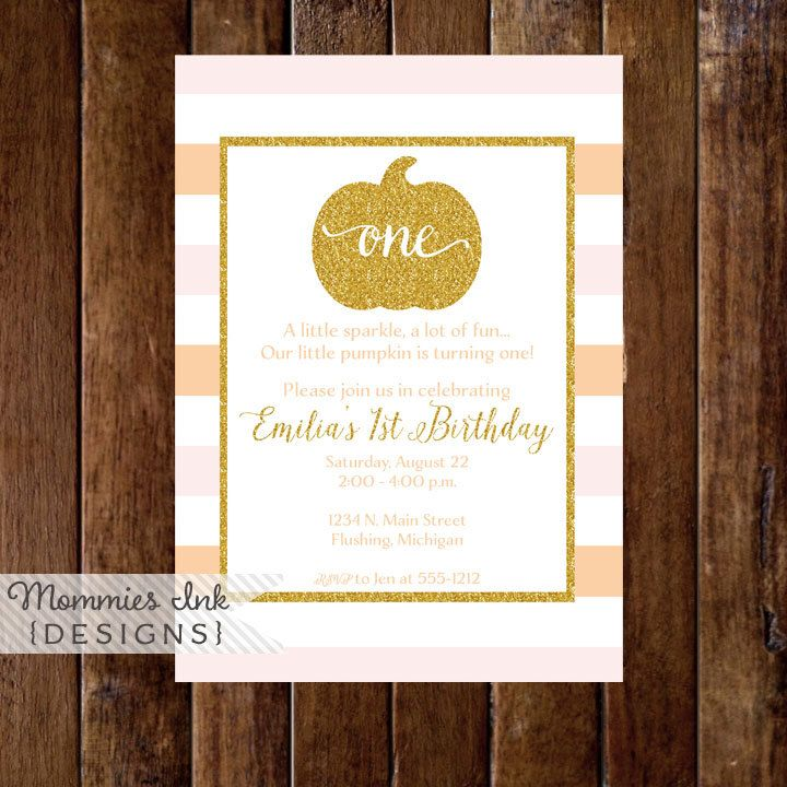 printable horse birthday party invitations free%0A Orange and Blush Pink Stripe Gold Pumpkin First Birthday Party Invitation   Gold Glitter Pumpkin