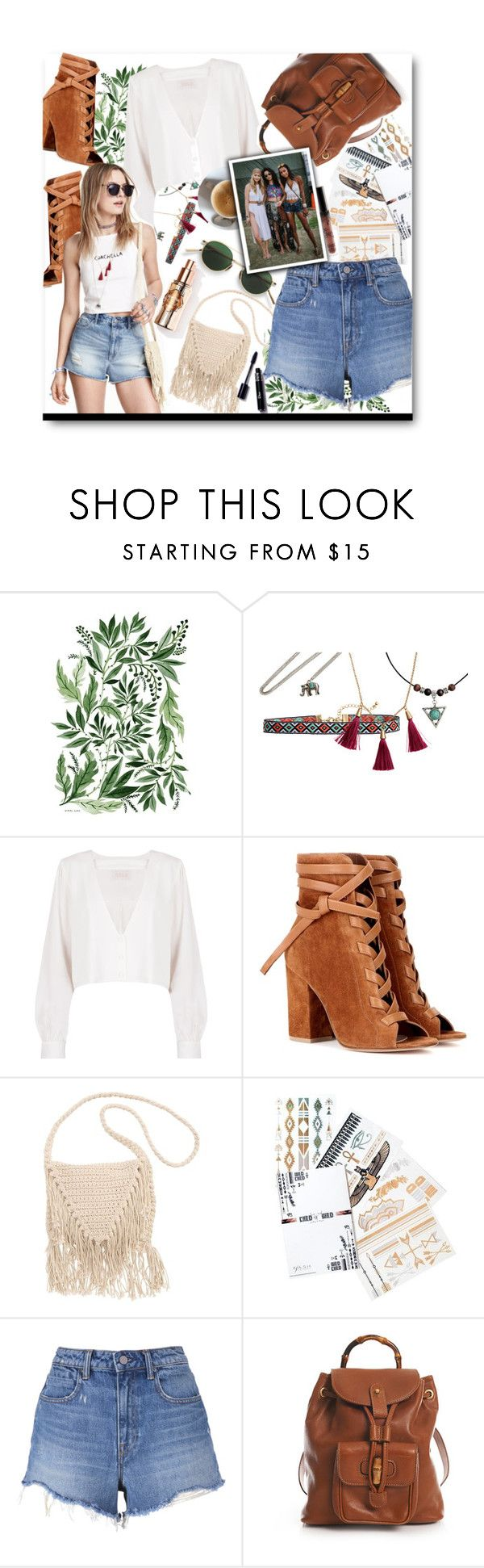"""Coachella 2016"" by voguefashion101 ❤ liked on Polyvore featuring Acne Studios, Stone_Cold_Fox, Gianvito Rossi, H&M, Billabong, Flash Tattoos, T By Alexander Wang and Gucci"