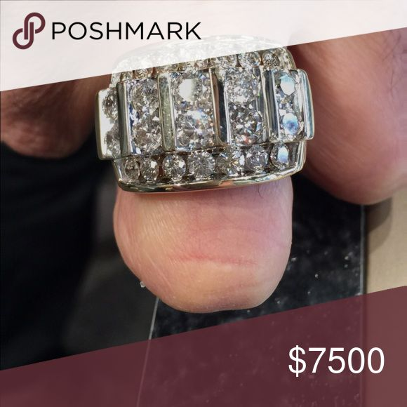 Men's diamond ring This is a men's diamond ring! It is 14k gold with about 6 carats of real diamonds Accessories