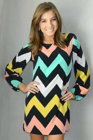 Back in stock in sizes Small & Medium! Chevron Craze Dress | Girly Girl Boutique