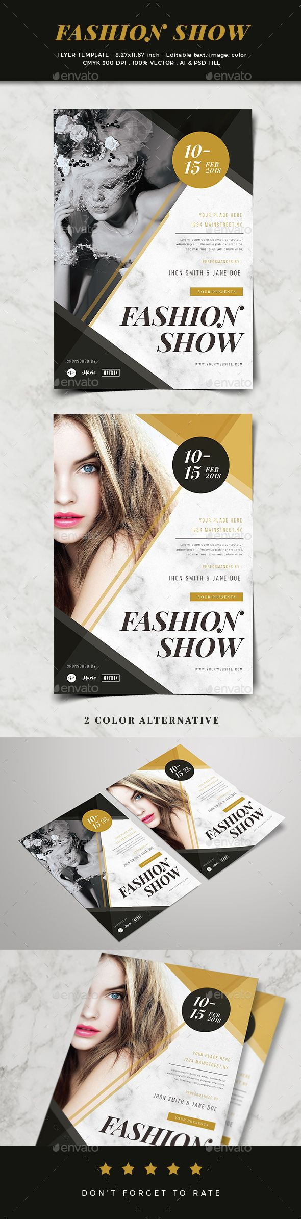 Fashion Show Flyer — Photoshop PSD #trends #style • Available here ➝ https://graphicriver.net/item/fashion-show-flyer/20722112?ref=pxcr