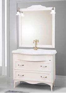 Imagine Set mobilier Savini Due Daiana Bianco 111cm , baza cu 2 sertare, lavoar si oglin