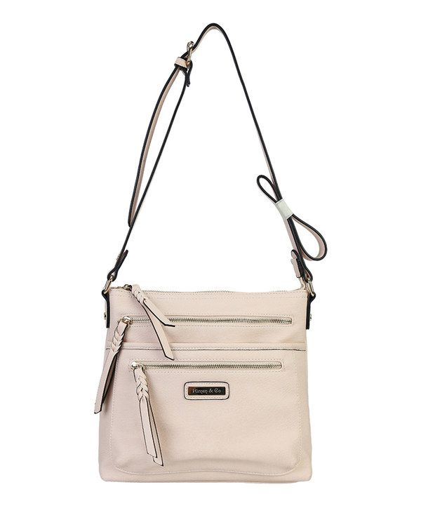 Look at this Rimen & Co. Nude Double Front Zip-Up Crossbody Tote on #zulily today!