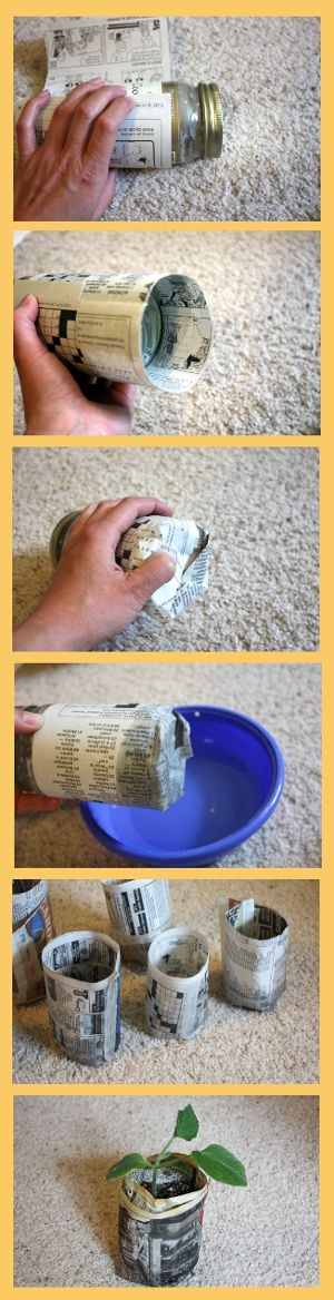 Make your own paper pots for starting seeds by Everyday Art