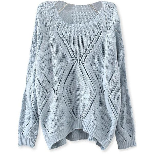 Solid Open-Knit Diamond Sweater OASAP.COM ($21) ❤ liked on Polyvore featuring tops, sweaters, oasap, shirts, print sweater, women tops, women sweaters, open-knit sweater and loose shirts