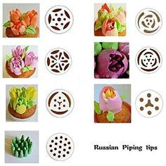 Amazon.com: TANGCHU Russian Piping Tips 7PCS/SET 304 Stainless Steel Large Size Icing Syringe Set DIY Coupler Nozzle: Kitchen & Dining