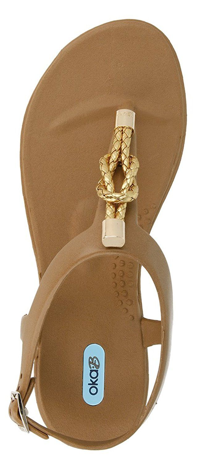 Neptune Flip Flop Sandal with Ankle Strap Color Camel by OkaB * You can get additional details at the image link.