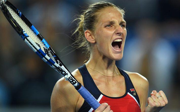 Download imagens Tênis, Karolina Pliskova, WTA, vitória, jogo de tênis, A tenista checa, líder da WTA