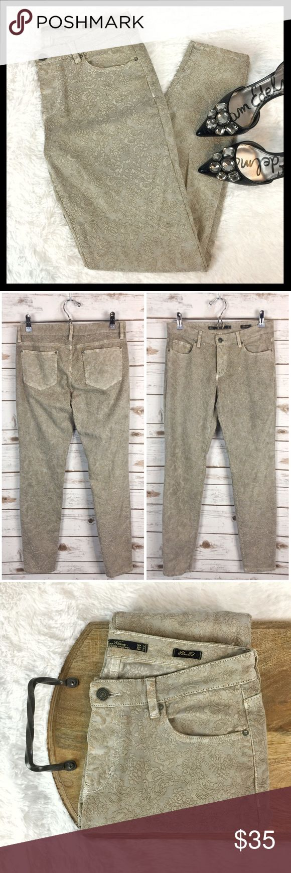 """zara // damask jacquard slim fit tan skinny jeans These awesome skinnies have a textured damask jacquard texture and slim fit. 98% cotton, 2% spandex. Size is US 6. Great preowned condition. Waistband measures 15"""" across lying flat. Rise is 8.25"""". Inseam is 29.5"""". Zara Jeans Skinny"""
