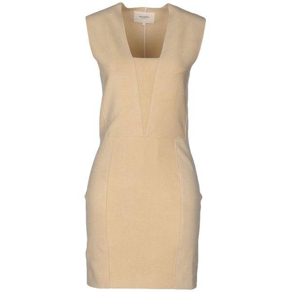 Nanushka Short Dress ($260) ❤ liked on Polyvore featuring dresses, beige, short tube dress, square neck dress, faux-leather dress, suede dress and nanushka