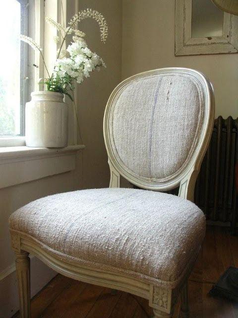 ♕ gorgeous grain sack upholstery