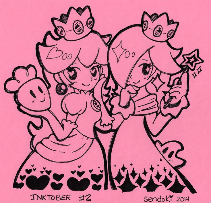 sendoki:  ~ INKTOBER: DAY 2 ~ (Used: Pink cardstock, fineliner, black COPiC marker) Today's Inktober theme: MY HYPE FOR SMASH BROS. Here's some Super Smash Sisters!
