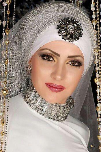 Beautiful arab bride with silver ornaments.