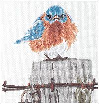 Plaid Bucilla Kit 42733 Mad Blue Bird Counted Cross Stitch Kit adapted by Terry Bertone from the artwork of Michael L. Smith