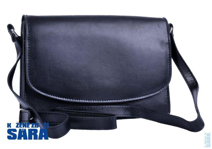 Kožená kabelka klopnová černá 23517, KATANA
