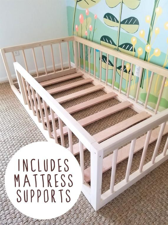 Montessori Floor Bed To Raised Bed Convertible With Rails