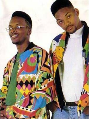 (Past) 'Depending on which area of the United states you came from, the clothing has slight differences, Will Smith in Fresh Prince style was based on the hop hop tend. He often wore tribal patterns ect and this was an important element at the time to the trend. Bomber jackets such as the one he wears here were also a staple garment in this trend. The hi top fade hair cut he has he was a hip hop tend which was popularised by will smith at the time.