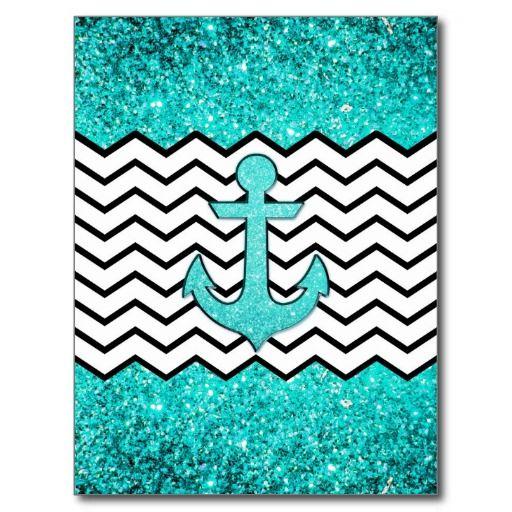Teal glitter anchor and chevron postcard
