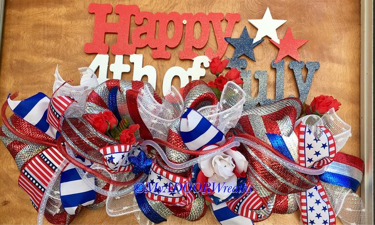 Happy Fourth of July Swag, Fourth of July Door Hanger, Patriotic Wreath, Deco Mesh Whimsical Patriotic Door Hanger, 4th July Decor Wreath by MyADOORableWreaths on Etsy https://www.etsy.com/listing/508080504/happy-fourth-of-july-swag-fourth-of-july