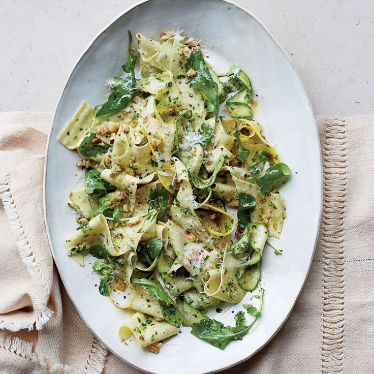 Pappardelle with Summer Squash and Arugula-Walnut Pesto | Food & Wine