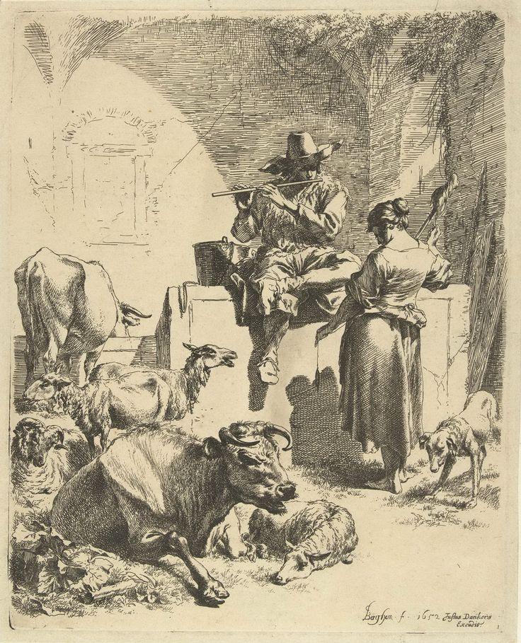 Пастух с флейтой и пастушка с прялкой 1652 (262 х 209 мм) (офорт). Nicolaes Berchem (1620-1683)