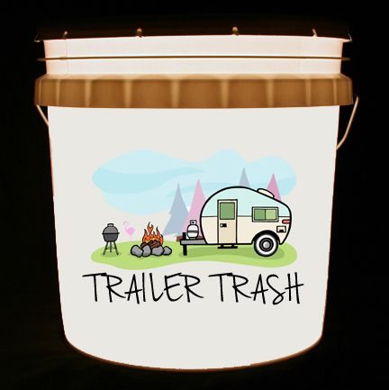 This bucket light features a cute canned ham vintage camping scene, along with the words Trailer Trash.