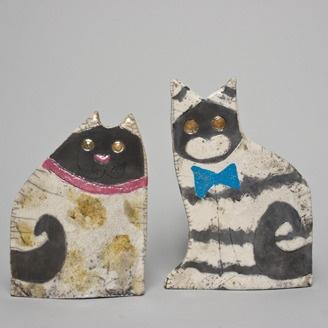 Raku Cats by Patti Hartnagel (Edmonton, AB). Member of the Alberta Craft Council.