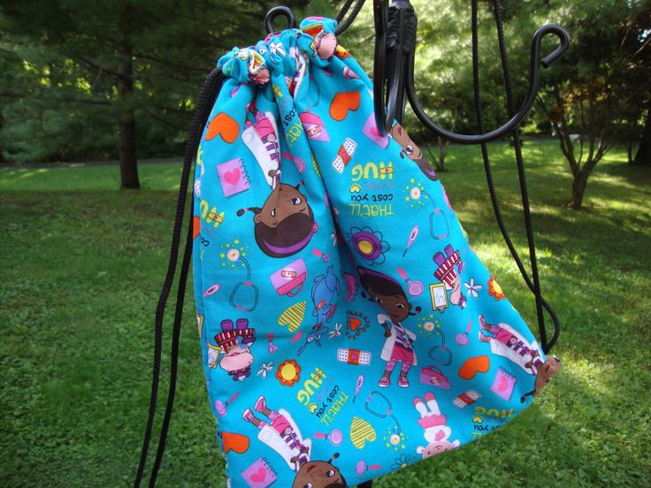 Teal Doc McStuffins Childs Drawstring Bag by EYPDesigns on Etsy