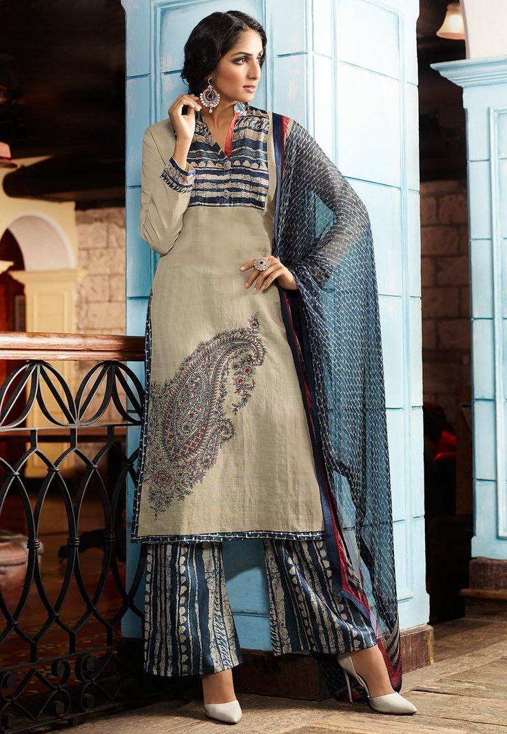 Embroidered Linen Pakistani Suit in Beige