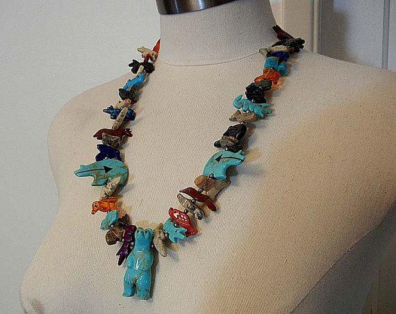 fetish necklace / In Good Spirits Vintage Zuni Fetish Bear Animal Necklace on Etsy, $485.00