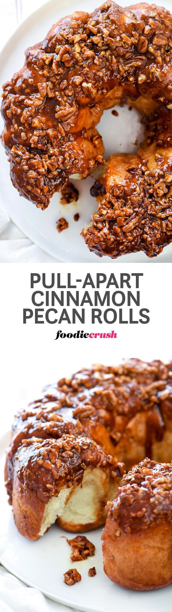Store-bought frozen rolls make these super easy but delightfully delicious cinnamon pecan pull-apart rolls easy to make for any weekend or holiday breakfast or brunch | http://foodiecrush.com #brunch #Christmas #holiday #pecan #rolls