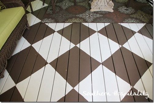 Love these checkerboard painted floors on the porch. Amazing!: Paintings Wood Floors, Floors Wood, Checkerboard Paintings, Southern Porches, Painted Wood Floors, Porches Ideas, Decor Dilemma, Paintings Floors, Diy Floors