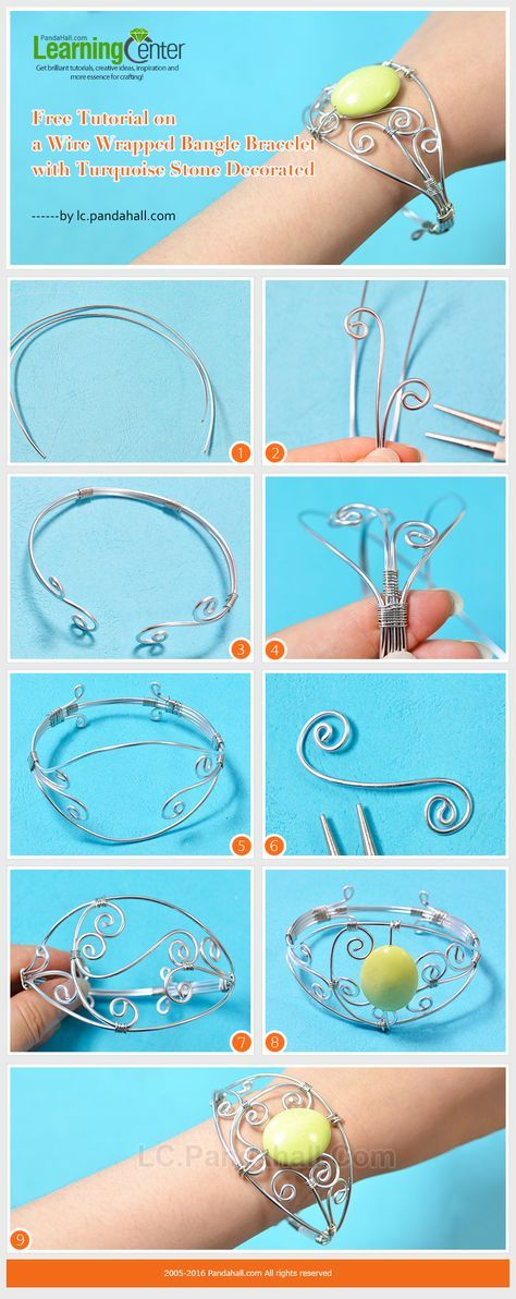 DIY Handmade Silver Wire Wrapped Bangle Bracelet with Bead