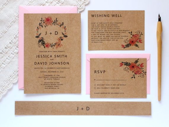 Barn Wedding Invitation, Rustic Wedding Invitation Template, Floral Wedding Invites, Country Invitations, SKU: WFH