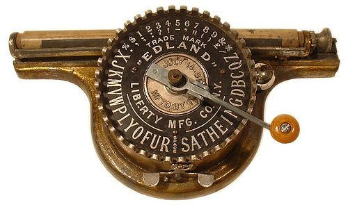 Typewriter Edland typewriter - 1892, antiquetypewriters.com by antique typewriters on Flickr