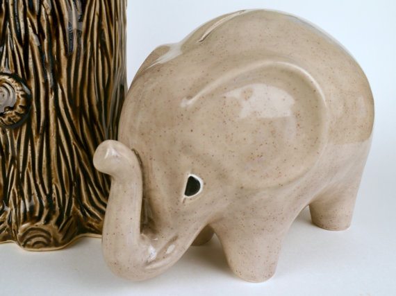 Ceramic personalized large jumbo elephant coin bank by modclay little boy stuff - Ceramic elephant piggy bank ...
