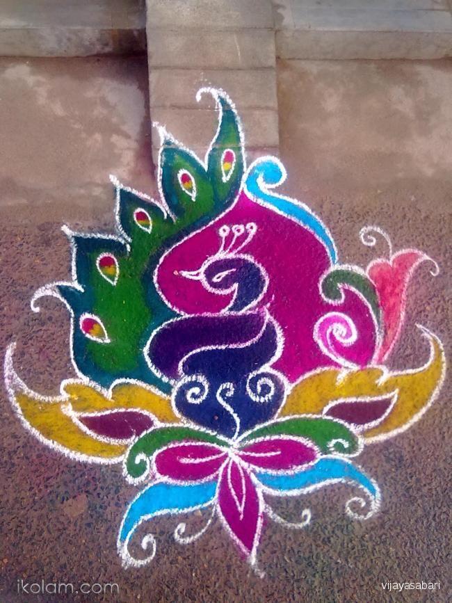 creative peacock rangoli