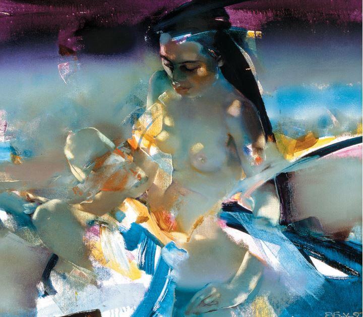 Валерий Блохин. Яркая живопись на грани абстракции. Вьетнам. Девушка с птицей. 90х100 холст масло