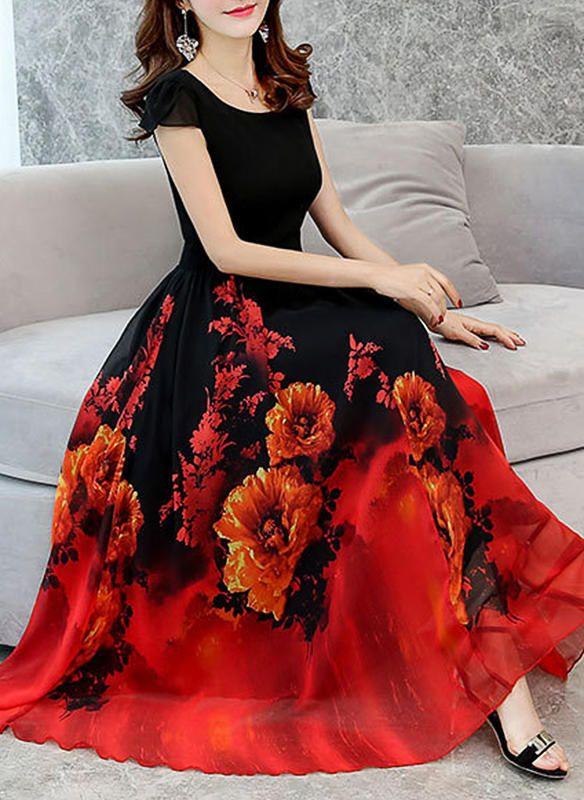 ccf2e53588  zł 171.90  Wydrukować Kwiatowy Okrągły Dekolt Maxi Sukienka Trapezowa  (199226988)