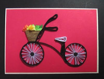 So cute. Quilled bicycle...