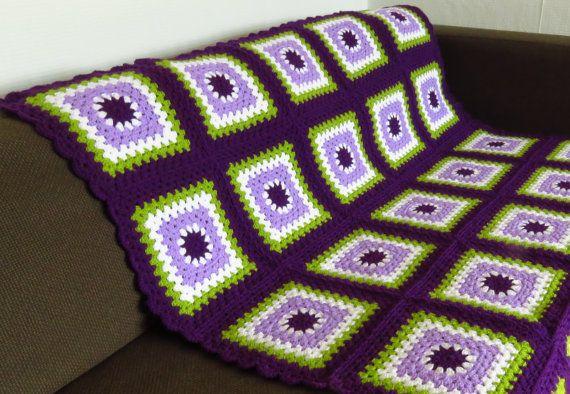 Purple Throw Blanket Purple Crochet Blanket Green by PhoenixSmiles