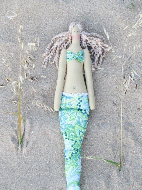 Sweet Mermaid doll handmade fabric doll sea by HappyDollsByLesya