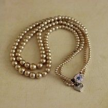 Two Row Pearl Bead Necklace with Diamante Clasp