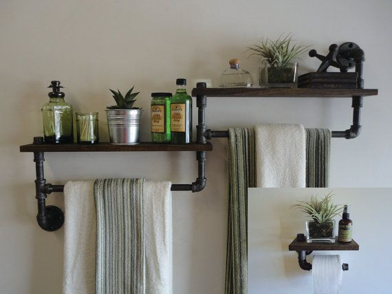 Industrial Bathroom Towel Rack U0026 Toilet Paper Von Mobeedesigns
