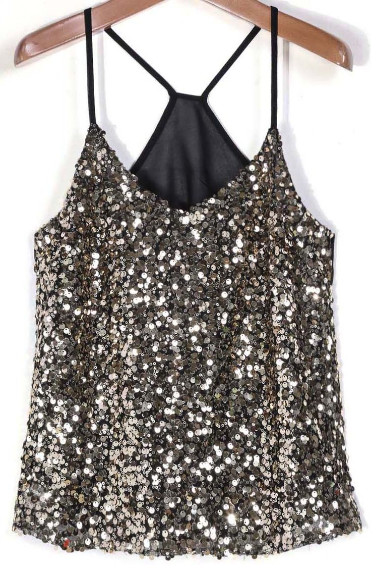 Shop Black Spaghetti Strap Gold Sequined Vest online. Sheinside offers Black Spaghetti Strap Gold Sequined Vest & more to fit your fashionable needs. Free Shipping Worldwide!